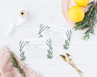 Printable Bridal Shower Recipe Card, Printable Recipe Cards, Bridal Party  - Skye