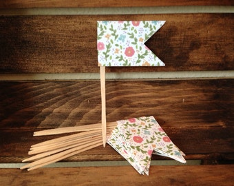 Pennant Food Picks / Place Cards / Cupcake Toppers - Multi-color Floral - set of 10