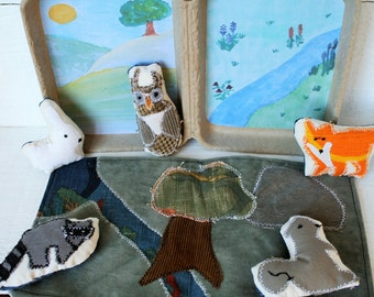 Woodland creature travel toy, travel toy, eco friendly gift, stuffed animals, pretend play, plushie, story stones, miniature toy