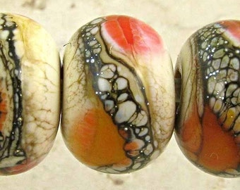 Handmade Red and Orange Lampwork Glass Bead Set of 6 Lipstick Apricot and Cream Small 11x7mm Soft Fire