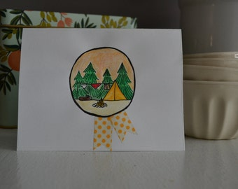"Hand-Illustrated Blank Card : ""Camp Runaway"""