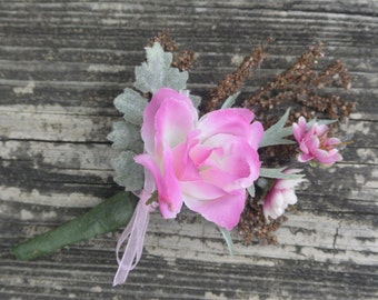 Pink Floral Boutonniere