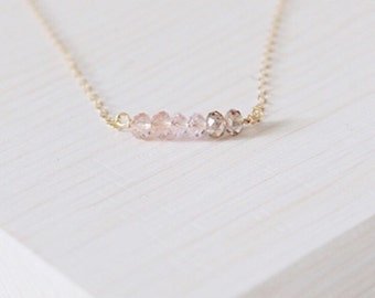 Pink Ombre Beaded Necklace | Gold Filled Chain