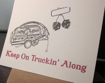 Keep On Truckin ' entlang - Gocco-Siebdruck-Kunst-Karte