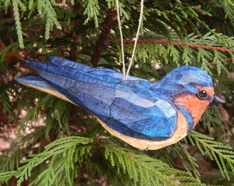Hand Carved Bird Ornament  Barn Swallow