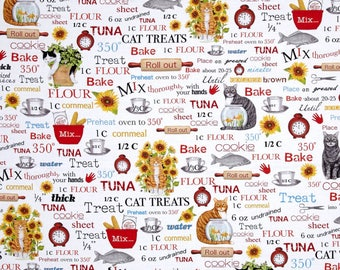 New Fabric ~ Cats in the Kitchen White Color~ Mary Lake-Thompson for Robert Kaufman Collection, Digital Printed Quilting Cotton