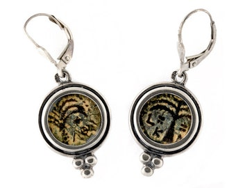 Ancient Roman Coin Sterling Silver Earrings