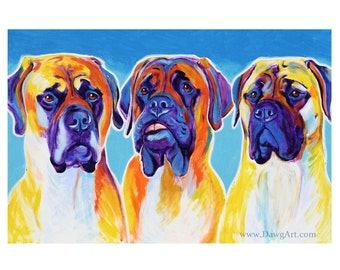 Mastiff, Pet Portrait, DawgArt, Dog Art, Pet Portrait Artist, Colorful Pet Portrait, Mastiff Art, Art, Art Prints, Mastiff Painting