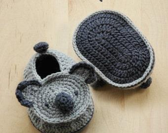 Crochet Pattern - Koala Baby Booties Koala Preemie Socks Koala Newborn Shoes Koala Applique Koala Baby Slippers Crochet Pattern (KB01-B-PAT)
