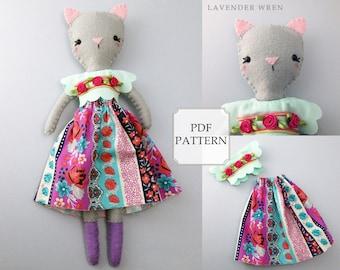 felt cat sewing pattern, kitten pdf, kitten sewing pattern, kitten pattern, kitten pdf, doll pattern, doll clothes, doll clothes pattern