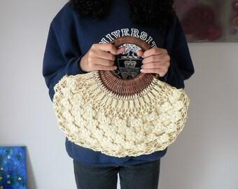 Macrame Handbag with Round Woven Wicker Handles