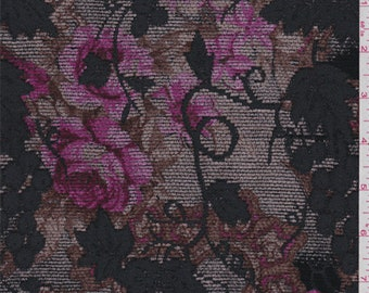 Soft Taupe/Pink Floral Vineyard Chenille Jacquard, Fabric By The Yard
