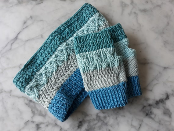Fingerless mitts: handknit mittens. Matching cowl available. Original design. Made in Ireland. Striped mittens. Wool alpaca mitts. Unisex.
