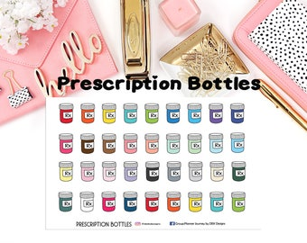Prescription Bottles Icons//EC//Hp classic, large and mini//planning stickers//Bucket List
