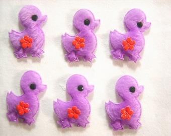 BATCH 6 fabric APPLIQUES: 35mm purple chick