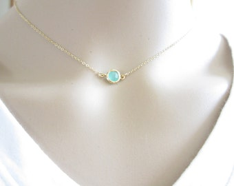 Tiny Mint Green Necklace, Gold Necklace, tiny Gold Necklace, Channel Necklace, Dot Necklace ( Also available in other stones ), contemporary