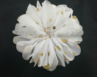 White gold polka dot chiffon flower - 2.5 inch fabric flower - Ballerina ruffle flower - White flowers - Hair flower - Appliqué flower