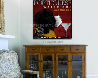 Portuguese Water Dog Martini Bar graphic art on canvas two colors by Stephen Fowler