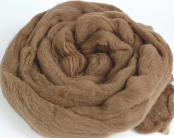 Plant Dyed Roving Walnut - Sold by the Ounce - Brown Wool Roving - Eco Dyed Roving