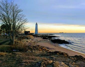 Lighthouse Beach Sunset Canvas Print