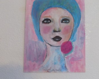 Pink girl with flower