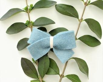 Bluebell Felt Hair Bow/Blue Felt Bow/Toddler Bow/Felt Bow Clip/Baby Bow