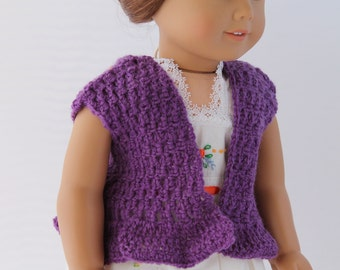 Handmade Crochet Doll Sweater Short Sleeve Light Sweater Vest Fits 18 inch doll