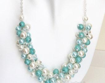 Aqua Pearl Necklace Bridesmaid Necklace Chunky Aqua Ivory Blue Jewelry Cluster Necklace Bridesmaid Necklace Tiffany Blue Color
