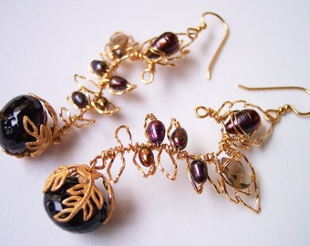Autumn Leaves Gold Earrings, Smoky Quartz, Dark Chocolate Pearls, Leaf and Vine, Leaf Earrings, Gift for Her, Vintage