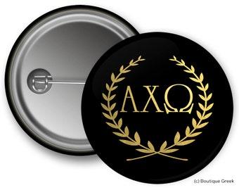 AXO Alpha Chi Omega Wreath Sorority Greek Button