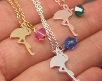 Flamingo Necklace, Personalized Birthstone Necklace, Pink Flamingo Necklace, Bird Necklace, Flamingo Jewelry, Bird Jewelry NB535
