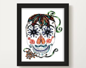 Day of the Dead Wall Art, Dia De Los Muertos, Mexican Day of the Dead, Color Sugar Skull, Home Decor, Halloween Sugar Skull P1048