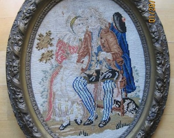 Antique Needlepoint Tapestry English Framed