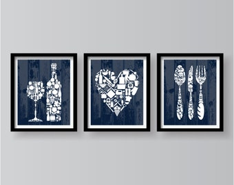 Blue Kitchen Wall art, set of 3 prints, Kitchen Decor, Blue Kitchen Print, Kitchen Wall Decor, Kitchen poster, Blue Dining Room Wall Decor