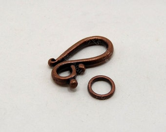 """10 Sets Antique Copper Tone """"S"""" Shape Toggle Clasp 21mm, DIY Jewerllery, Crafts Supplies & Findings, Wholesale, CRTS-0074"""