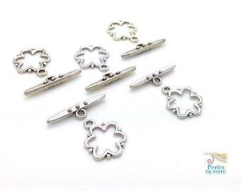 10 sets (f65) silver plated flower toggle clasps