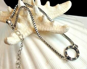 Chain Bracelet with a Rhinestone Circle Vintage Bracelet 1970 Chain Bracelet Silver Chain Bracelet