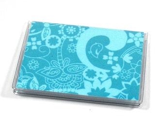 Card Case Mini Wallet Teal Flowers