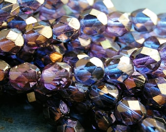 Bronze Illusion Czech Glass Bead 6mm Faceted Round - 25 Pc