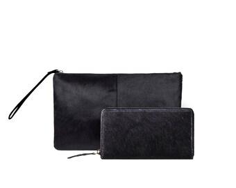 Matching Clutch & Purse Gift Set | Black Pony Hair/Fur Clutch | 10% discount | by MAHI Leather