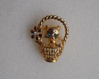 Kitten Brooch, NLH Kitten Pin, Kitten in a Basket, Landau Jewelry, Vintage Jewelry, NLH Jewelry, Novelty Pin