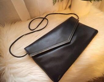 Vintage Navy Clutch ~ Shoulder bag ~ 1980s Retro Purse