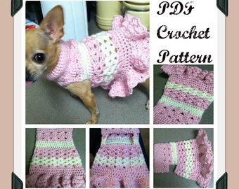 PDF Crochet Pattern - Littlest Bo Peep Crochet Dog Dress - INSTANT DOWNLOAD