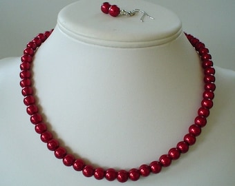 Single Strand Dark Red Pearl Beaded Necklace and Earring Set    Great Brides or Bridesmaid Gifts