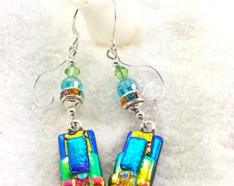 Dichroic earrings, fused glass jewelry, fused dichroic earrings, glass jewelry, long earrings, glass fusion, dichroic glass beads, trending