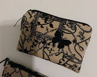 Goth Punk Padded Zippered Coin Pouch Bank Card Holder