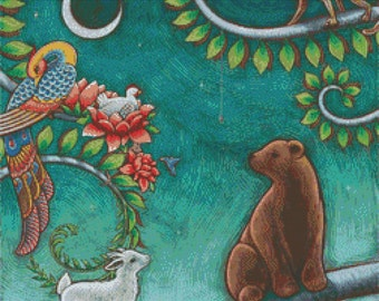 CROSS STITCH KIT - Eya Claire Floyd - Tree Life  - Modern art needlecraft - Bear- Monkey - Goat - Genuine Dmc materials