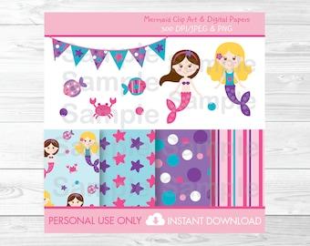 Cute Mermaid Clipart / Mermaid Digital Paper / Under The Sea / Mermaid Birthday Clipart / Pink & Purple / PERSONAL USE Instant Download A249