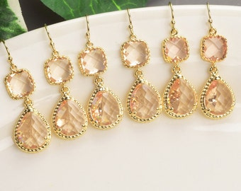Champagne Earrings - Set of 8 - Bridesmaid Earrings - Gold Drop Earrings - Crystal Drop Earrings - Bridal Party Jewelry - Bridesmaid Jewelry