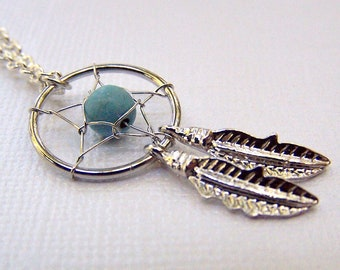 Silver Dreamcatcher Necklace Turquoise Dreamcatcher Jewelry